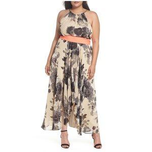 Eliza J Floral Print Halter Chiffon Maxi Dress 18W